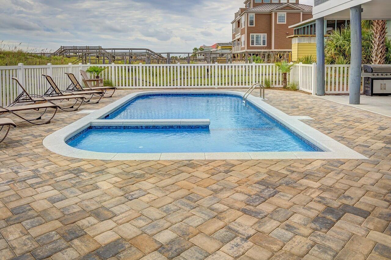 nice pool in backyard