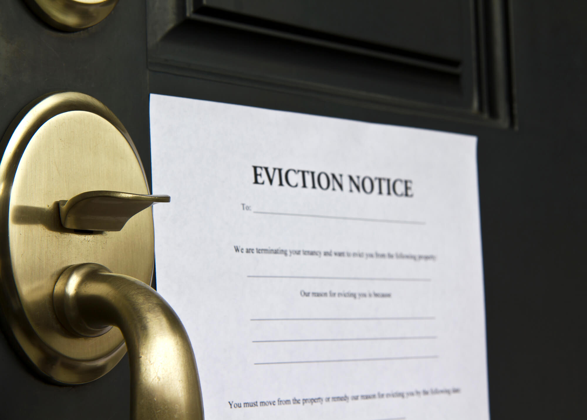 Eviction notice on front door